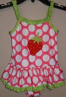 Penelope Mack Girls Swimsuit. Polka Dots with Strawberry on Front. Size 4T