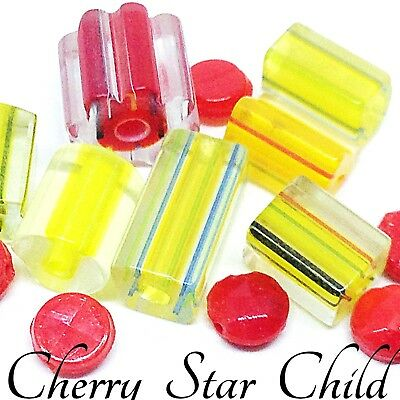 13 x red yellow mix never used vintage hand made glass cane tube beads