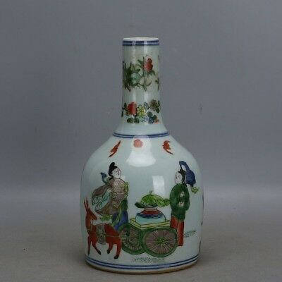 Beautiful Chinese Ming Five Colours Porcelain Figure Bell-Shaped Vase