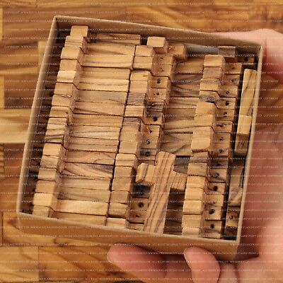 50 Small Olive Wood Crosses 3.6 cm Rosary Crosses Necklace Crosses Retail Box