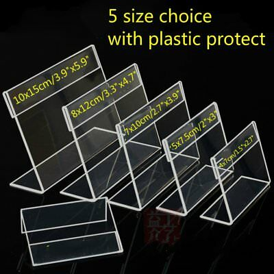 New 10x Clear Acrylic Sign Display Holders Price Tag Label Stand 5 Size Choice