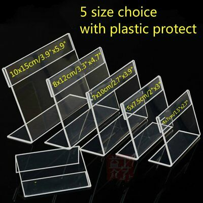 New 20x Clear Acrylic Sign Display Holders Price Tag Label Stand 5 Size Choice