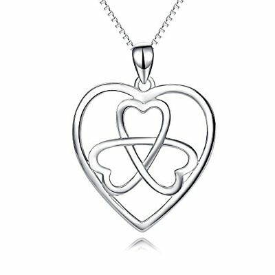 ❤ Valentine Mothers Day Yfn 925 Sterling Silver Irish Celtic Knot Clover Eternal