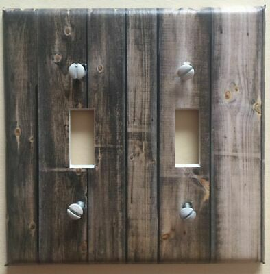 Light Switch Plate Cover Aged Wood Planks Barnwood Rustic Home Decor Dark Stain