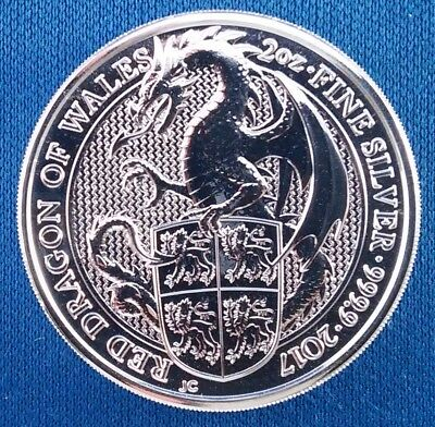 2017 Queen's Beasts Red Dragon 2 Ounce .999 Silver Round