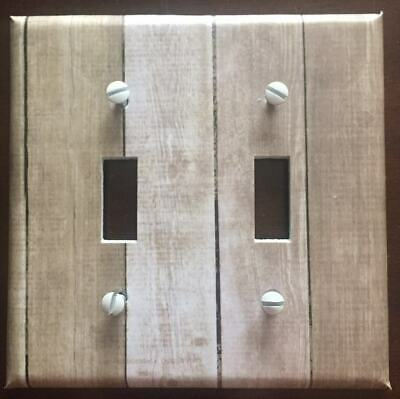 Light Switch Plate Cover Aged Wood Planks Barnwood Rustic Home Decor Light Stain