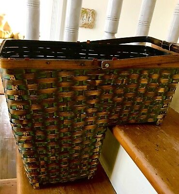 Vintage Large Woven Stair Step Basket W/ Handle Beautiful Patina