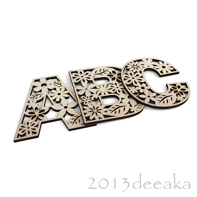 Wooden Letters A-Z Numbers Floral Filigree Decoration 4mm MDF