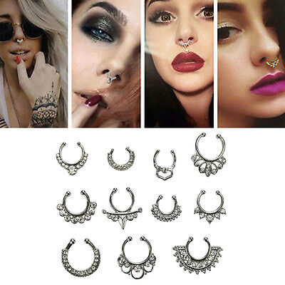 1Set Unisex Fake Septum Clicker Nose Ring Non Piercing Hangers Clip On JewelryFO