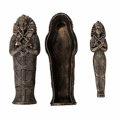 "King Tut Sarcophagus Coffin w/ Mummy Insert Figurine 5.5"" Long Collectible"