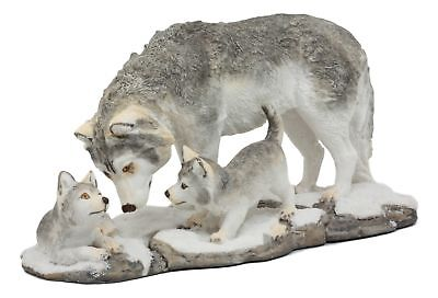 "Large Wolf Mother And Pups Family Statue 9.75"" Long Winter Warrior Figurine"