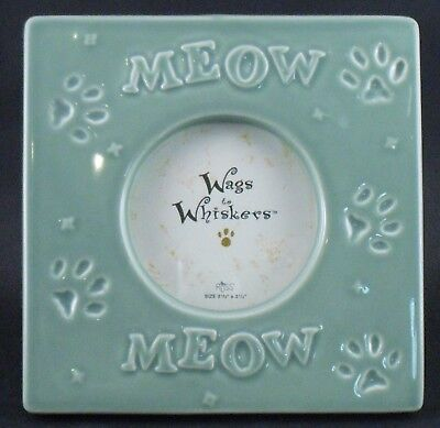 """KITTY CAT CERAMIC PICTURE FRAME """"MEOW"""" 3.5"""" Diameter Opening 6"""" Square From RUSS"""