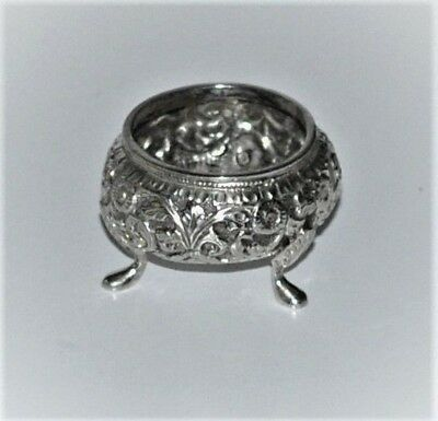 Antique Indian Embossed Kutch Silver Salt Dish coriander Flowers Signed