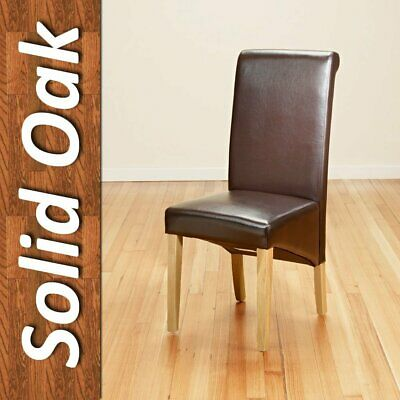 Remarkable Pair Faux Leather Dining Chairs Scroll High Back Seat Roll Pabps2019 Chair Design Images Pabps2019Com