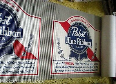 """SALE Pabst Blue Ribbon Sign1989 NOS Milwaukee Wis 24"""" x 20' Advertising Runner"""