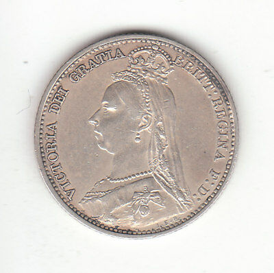1891 Great Britain Queen Victoria Silver Sixpence.  Scarce. EF.