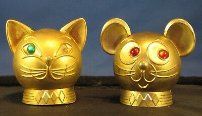 """*Vintage Golden Cat and Mouse heads with """"jewel"""" eyes banks"""