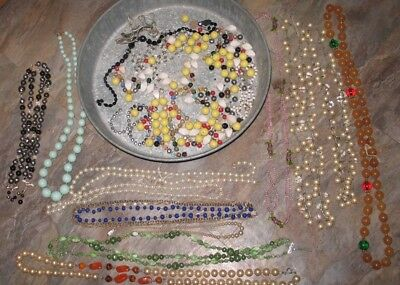 *Lot of Costume/Vintage Jewelry: 12 Beaded necklaces and tray of loose beads