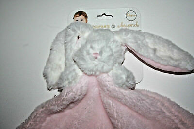 Blankets and & Beyond Bunny Rabbit Baby Security Blanket Pink White  - New w/Tag