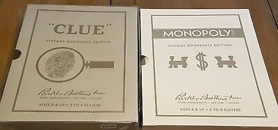 Vintage Bookshelf Edition Clue And Monopoly NEW Boardgames