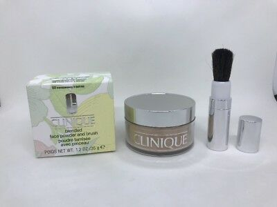 Clinique Blended Face Powder and Brush 35g 1.2oz Makeup 03 Transparency