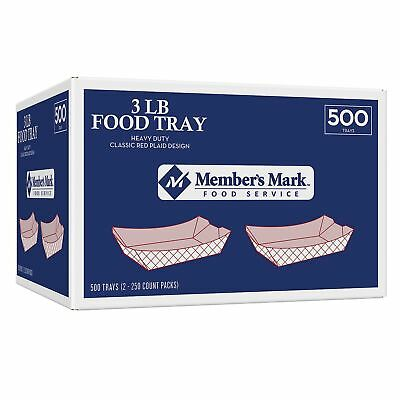 Brand New Item Members Mark Red Plaid Paper Food Trays 3 lb Capacity 500 Count