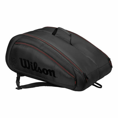 Wilson Fed Team 12 pack Tennis Bag For Tennis Badminton Squash Black WRZ833712