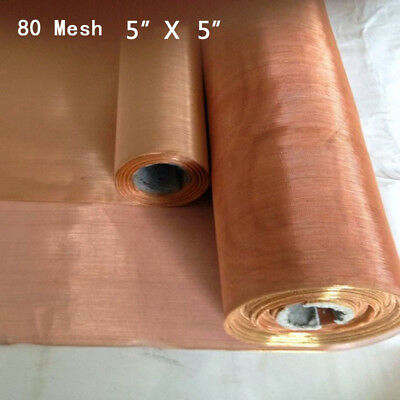 """Copper 80 Mesh 200 Micron Pollen Dry Sift Filter Screen 5*5"""" .0047"""" Wire Roll"""