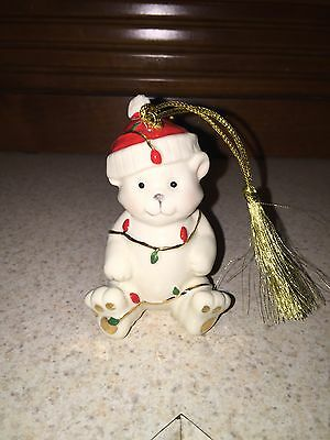 LENOX Teddy Bear Porcelain Christmas Ornament in Original Box NEW IN BOX