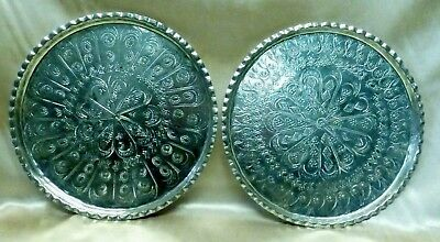Two Vintage Hand Hammered Persian Copper Trays w. Fine Ornate Patterns