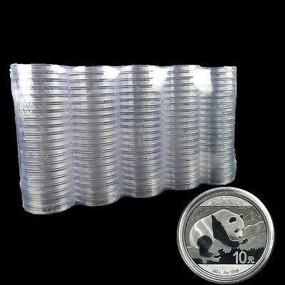 10pcs 40mm Clear Round Cases Box Coin Storage Capsules Holder Display Container