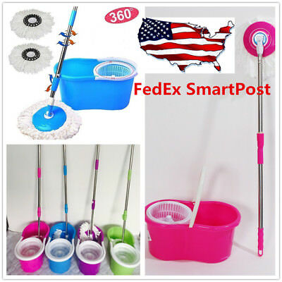 US 360° Easy Clean Floor Mop Microfiber Spinning Magic Spin With Bucket 2 Heads