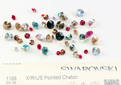 Genuine SWAROVSKI 1188 XIRIUS Pointed Chaton Round Stones Crystals * Many Colors