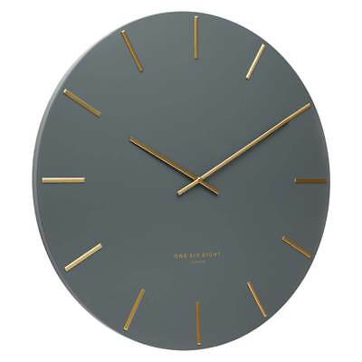 NEW One Six Eight London Luca Wall Clock, Charcoal Grey, 40cm + GIFT