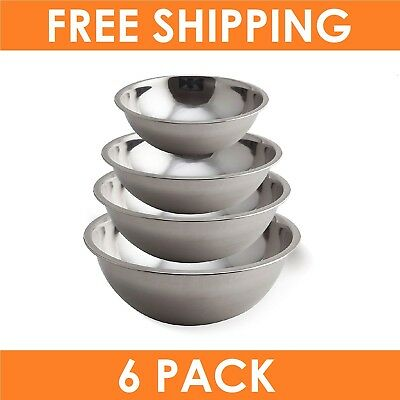 6 x Stainless Steel 4 Piece Mixing Bowl Set - Kitchen Food Mixing and Prep Bowls