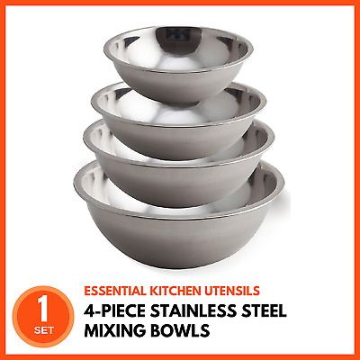 4 Piece Stainless Steel Mixing Bowl Set Kitchen Food Salad Mixing and Prep Bowls