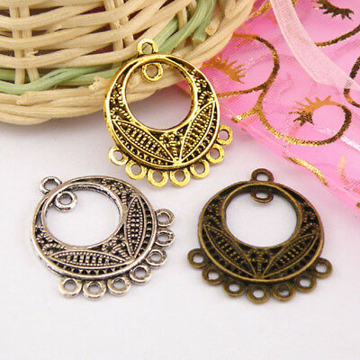 5Pcs Tibetan Silver,Gold,Bronze Circle Charm Pendants Connectors DIY M1267
