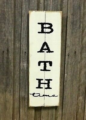 BATH TIME H60cm x W20cm - Rustic Vintage Style Timber Sign