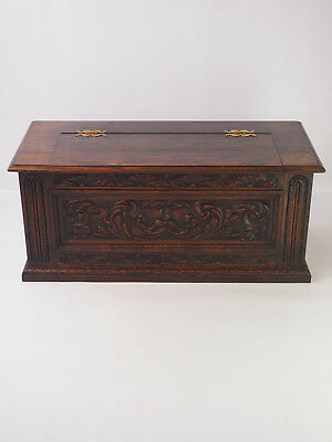 Antique Edwardian Oak Coffer -Green Man Chest TV Stand Shoe Toy Box Coffee Table
