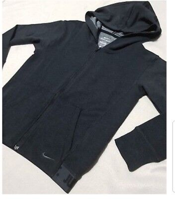 Nike Girl's Zip Up Hoodie Dark Grey Dri-Fit Stay Warm 903751 010 S Rrp £40