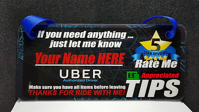 2X Uber Lyft Custom Name Headrest Display Cards Tips Signs Rideshare