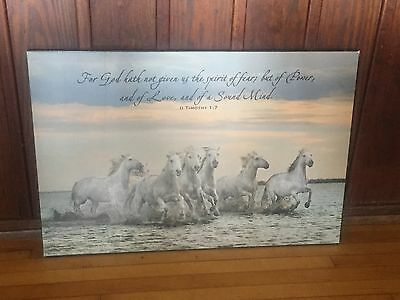 """White Horses Running In Water Wooden Horse Print Wall Art With Message 36"""" x 24"""""""