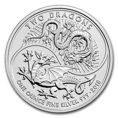 2018 Great Britain Two Dragons 1 oz .999 Silver Royal Mint Capsuled BU Coin