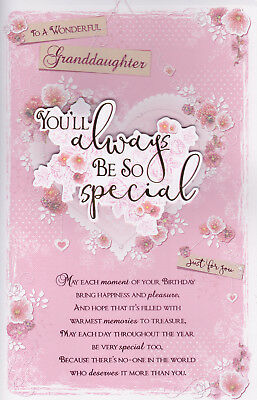 Large Granddaughter Birthday Card 8 Page Colour Insert Verse Greeting