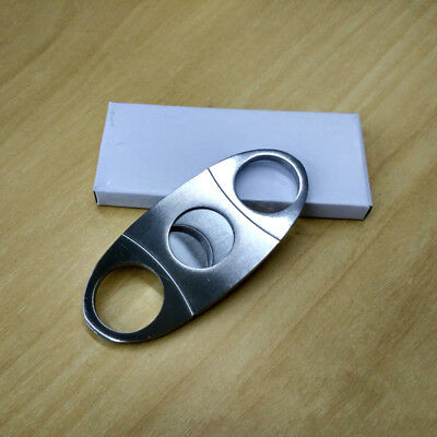 New Cutter Blades ☇ Double Knife Silver Portable Cigar Pocket Shears Stainless