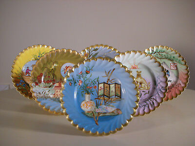 Antique Carl Knoll Carlsbad Porcelain Saucers Hand Painted Signed (6PCS)