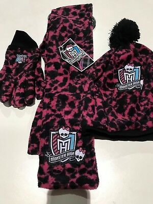 Wholesale Job Lot of 40 x NWT Girls Monster High Hat, Scarf & Gloves Sets