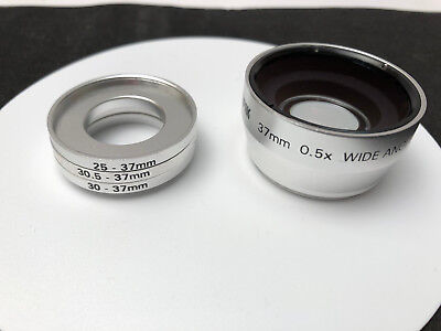 Sunpak 37mm 0.5X Wide Angle Lens With 3 exta rings Silver