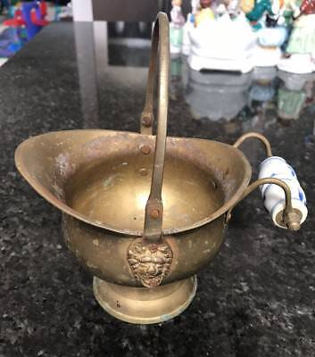 Vintage Brass HOLLYWOOD REGENCY Lion Head Pitcher Super Cool Collectible