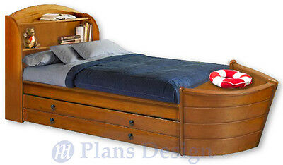 Children's Twin Boat Bed with Trundle Woodworking Plans, Do It Yourself
